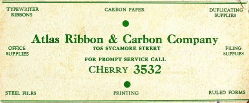 Atlas Ribbon & Carbon Co  Blotter | Ribbon Tin Virtual Museum